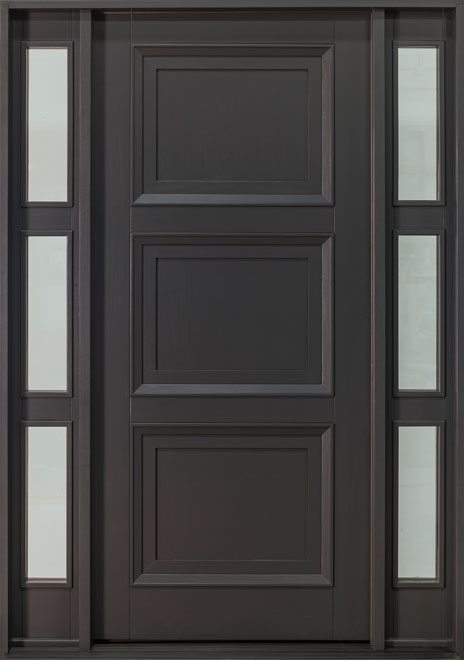 Classic Series Mahogany Wood Front Door - Single with 2 Sidelites - DB-010PW 2SL CST