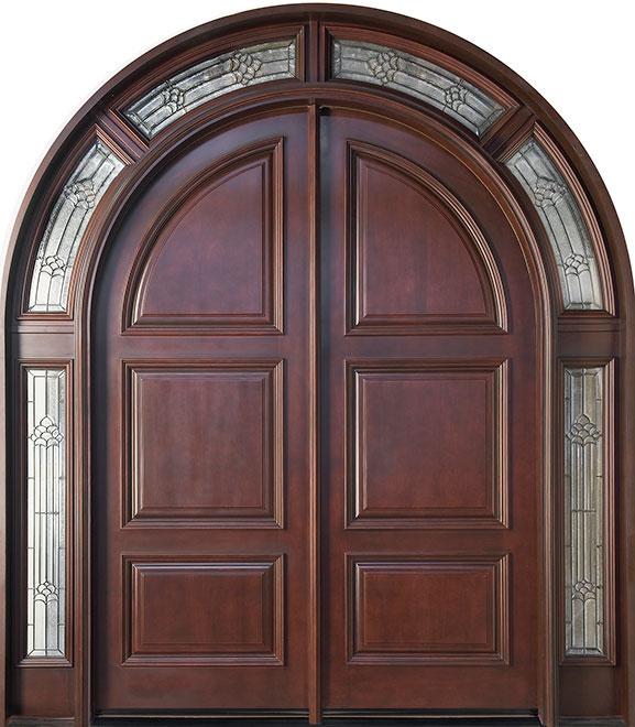 Classic Mahogany Wood Front Door - Double - DB-011 SL DD CST