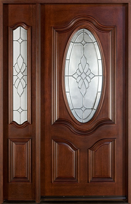 Classic Mahogany Wood Front Door - Single with 1 Sidelite - DB-053 1SL  CST