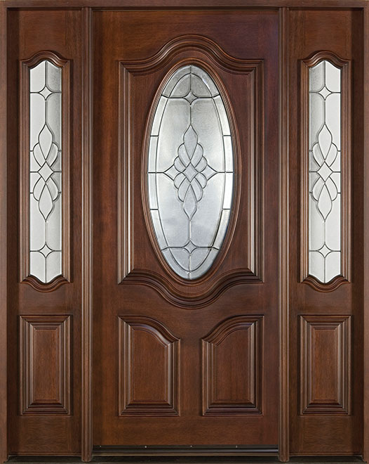 Classic Mahogany Wood Front Door - Single with 2 Sidelites - DB-053 2SL CST