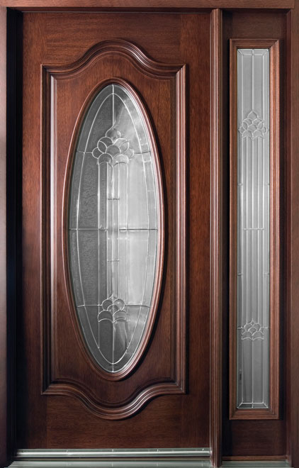 Classic Mahogany Wood Entry Door - Single with 1 Sidelite - DB-056 1SL