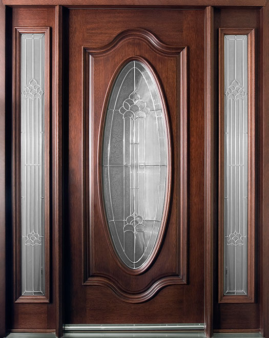 Classic Mahogany Wood Front Door - Single with 2 Sidelites - DB-056 2SL  CST