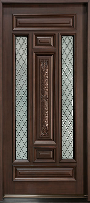 Diamond Mahogany Wood Front Door - Double - DB-095WDG  CST