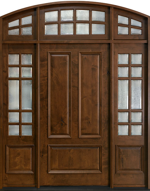 Classic Knotty Alder Wood Front Door - Single with 2 Sidelites w/ Transom - DB-102 2SL TR CST