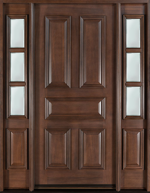 Classic Mahogany Wood Front Door - Single with 2 Sidelites - DB-103 2SL CST