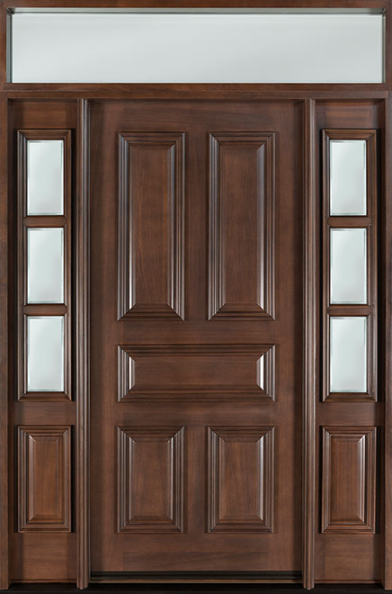 Classic Mahogany Wood Front Door - Single with 2 Sidelites w/ Transom - DB-103 2SL TR CST