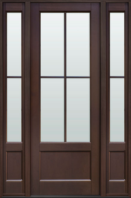 Classic Mahogany Wood Front Door - Single with 2 Sidelites - DB-104PT 2SL CST