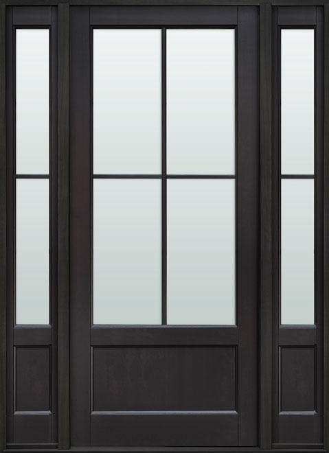Classic Mahogany Wood Front Door - Single with 2 Sidelites - DB-104PW 2SL CST