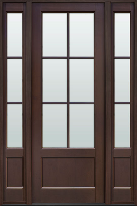 Classic Mahogany Wood Front Door - Single with 2 Sidelites - DB-106PT 2SL CST