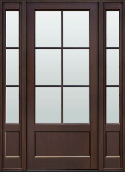 Classic Mahogany Wood Front Door - Single with 2 Sidelites - DB-106PW 2SL CST