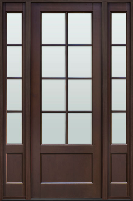 Classic Mahogany Wood Front Door - Single with 2 Sidelites - DB-108PT 2SL CST
