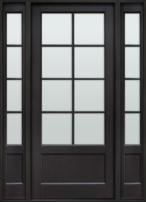 Classic Mahogany Wood Front Door - Single with 2 Sidelites - DB-108PW 2SL CST