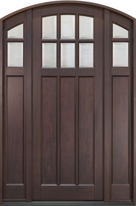 Classic Mahogany Wood Front Door - Single with 2 Sidelites - DB-112PTA 2SL CST
