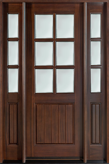 Classic Mahogany Wood Front Door - Single with 2 Sidelites - DB-131 2SL CST