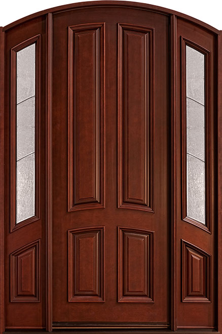 Classic Mahogany Wood Front Door - Single with 2 Sidelites - DB-152 2SL CST