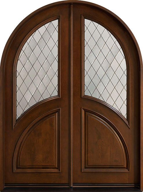 Diamond Cherry Wood Front Door - Double - DB-155A DD CST