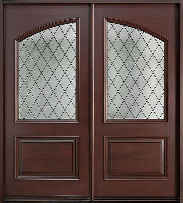 Diamond Mahogany Wood Front Door - Double - DB-155B DD CST