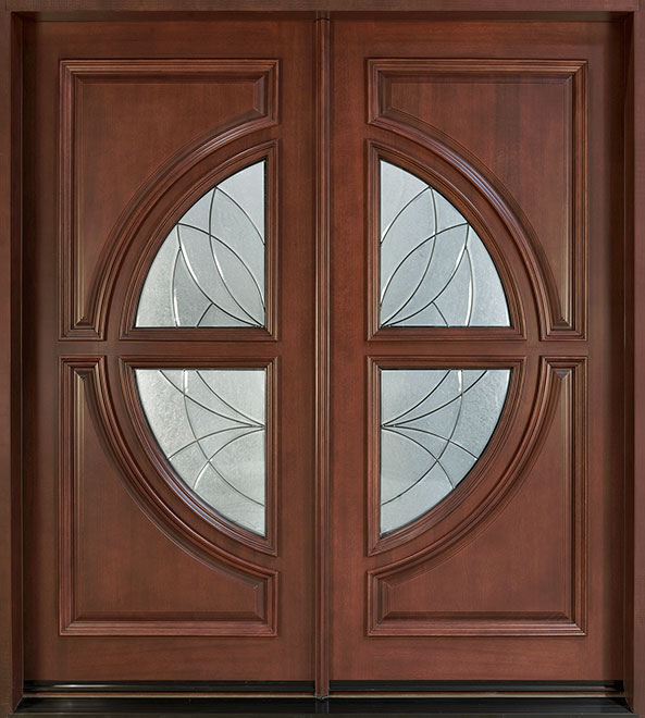 Modern Mahogany Wood Front Door - Double  - DB-185 CST