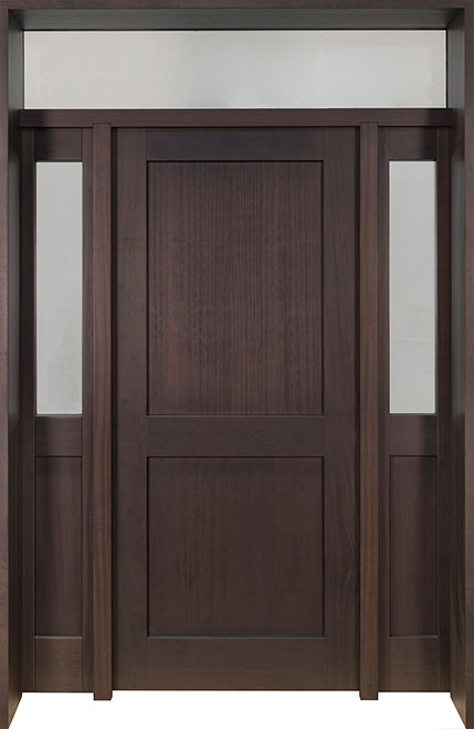 Classic Mahogany Wood Front Door - Single with 2 Sidelites w/ Transom - DB-201PT 2SL TR CST