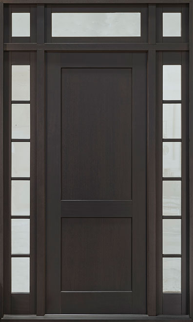 Classic Mahogany Wood Front Door - Single with 2 Sidelites w/ Transom - DB-201PW 2SL TR CST