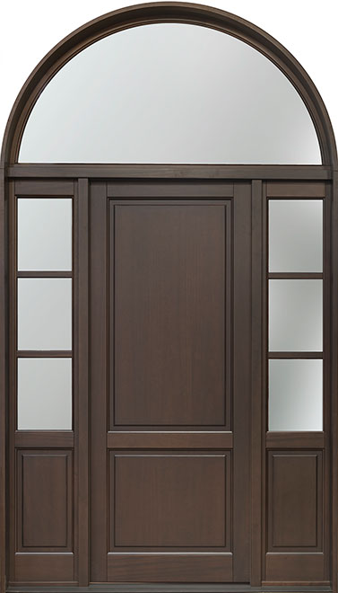 Classic Mahogany Wood Front Door - Single with 2 Sidelites w/ Transom - DB-202PW 2SL TR CST