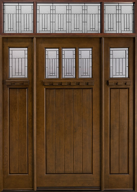 Craftsman Cherry Wood Front Door - Single with 2 Sidelites - DB-211A 2SL CST