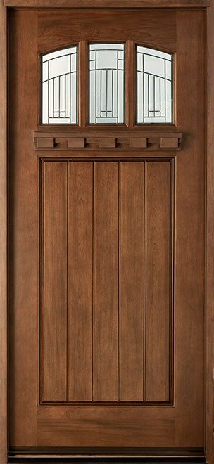 Craftsman Cherry Wood Front Door - Single - DB-211S CST