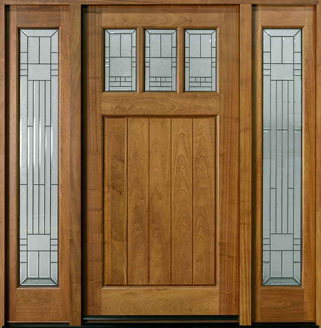 Craftsman Mahogany Wood Front Door - Single with 2 Sidelites - DB-211W 2SL CST