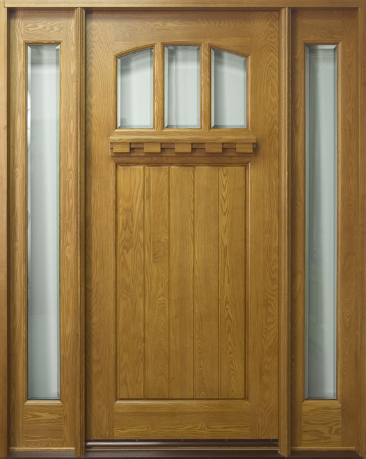 Craftsman Ash Wood Front Door - Single with 2 Sidelites - DB-211 2SL CST