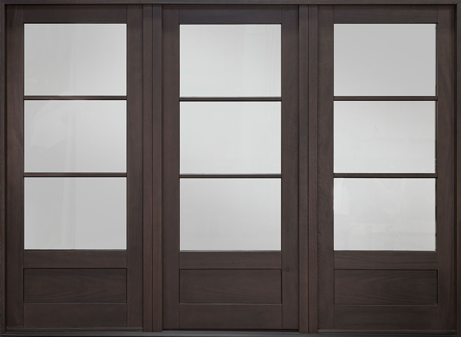 Classic Mahogany Wood Front Door - Single with 2 Sidelites - DB-300PW 2SL CST