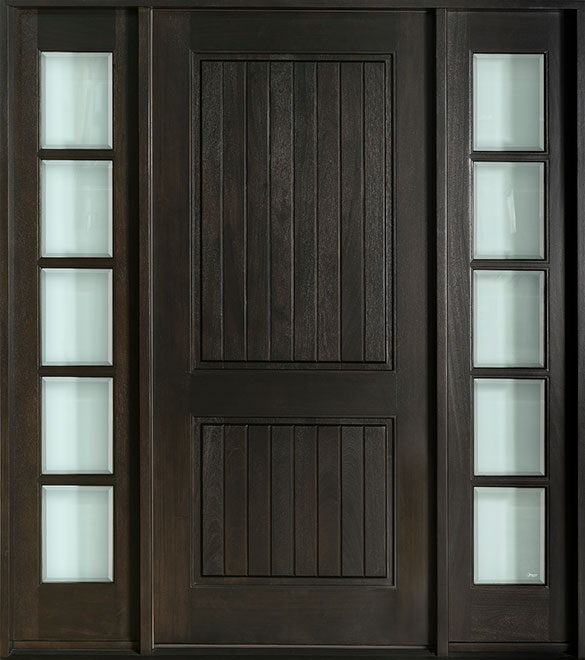Craftsman Mahogany Wood Front Door - Single with 2 Sidelites - DB-301VG CST