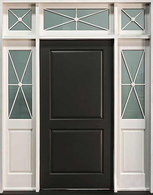 Classic Mahogany Wood Front Door - Single with 2 Sidelites w/ Transom - DB-301W 2SL TR CST