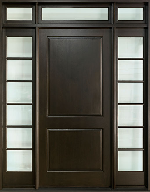 Classic Mahogany Wood Front Door - Single with 2 Sidelites w/ Transom - DB-301 2SL TR CST