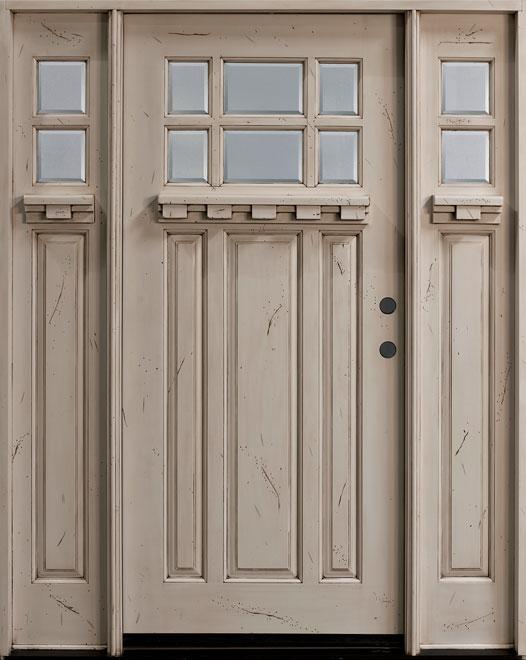 Craftsman Mahogany Wood Front Door - Single with 2 Sidelites - DB-311P 2SL CST