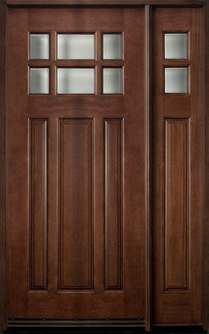 Classic Mahogany Wood Front Door - Single with 1 Sidelite - DB-311 1SL CST