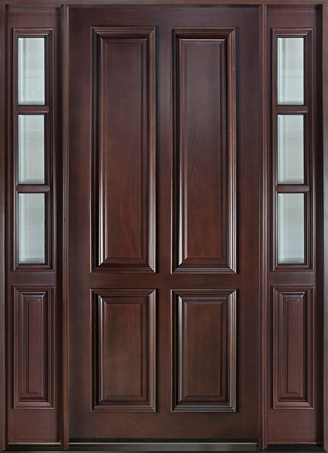 Classic Mahogany Wood Front Door - Single with 2 Sidelites - DB-315W CST 2SL