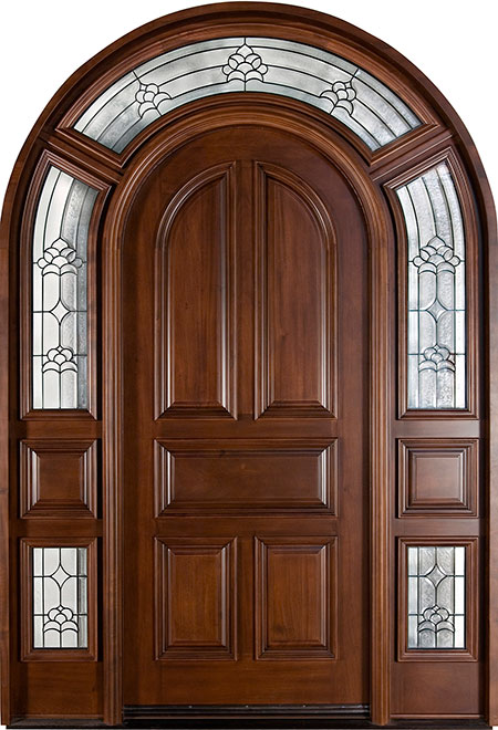 Classic Mahogany Wood Front Door - Single with 2 Sidelites - DB-395S SL CST