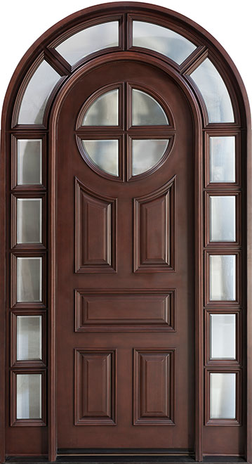 Classic Mahogany Wood Front Door - Single with 2 Sidelites - DB-395T SL CST