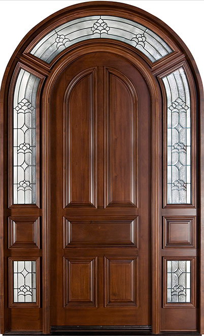 Classic Mahogany Wood Front Door - Single with 2 Sidelites - DB-395 SL CST