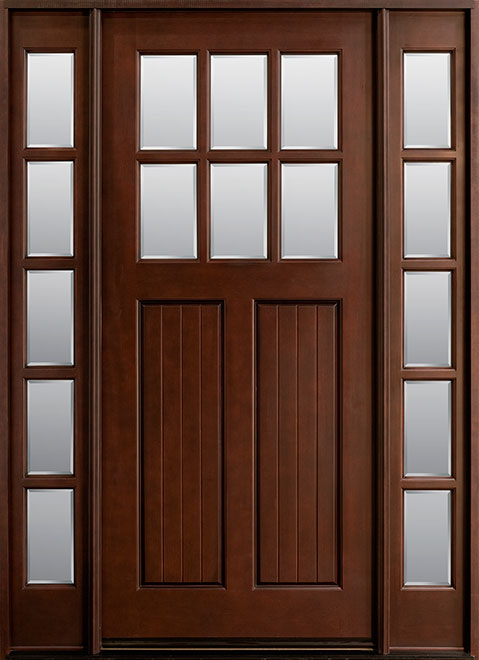 Classic Mahogany Wood Front Door - Single with 2 Sidelites - DB-411W 2SL CST