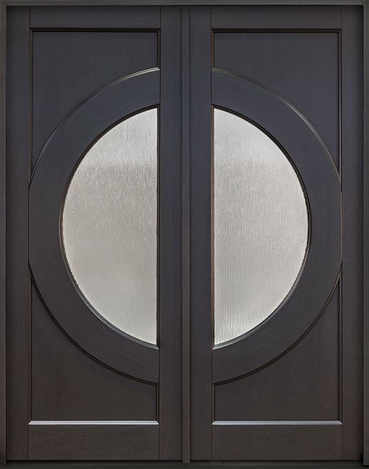Modern Mahogany Wood Front Door - Double - DB-490PT DD CST
