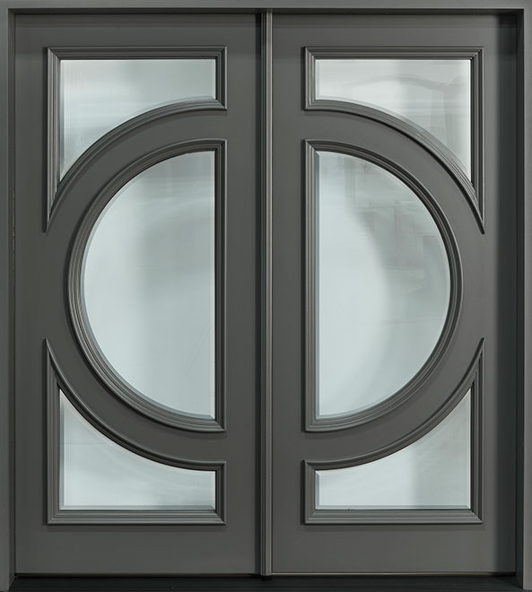 Modern Mahogany Wood Front Door - Double - DB-490S DD CST