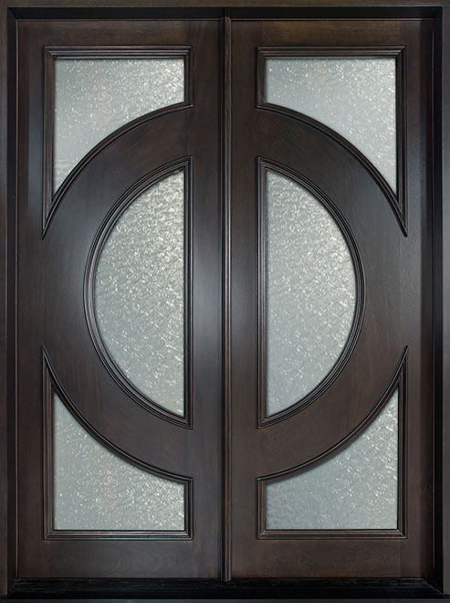 Modern Mahogany Wood Front Door - Double - DB-490 DD CST