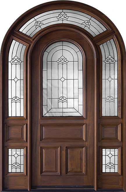 Classic Mahogany Wood Front Door - Single with 2 Sidelites - DB-495 SL  CST