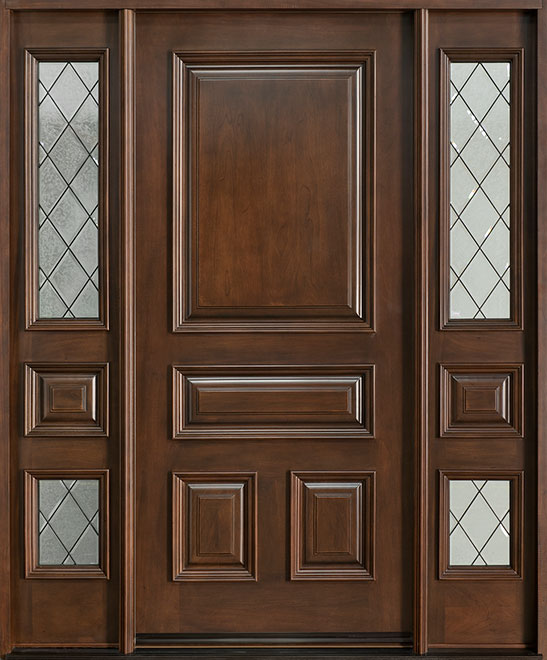 Diamond Mahogany Wood Front Door - Single with 2 Sidelites - DB-496P 2SL CST