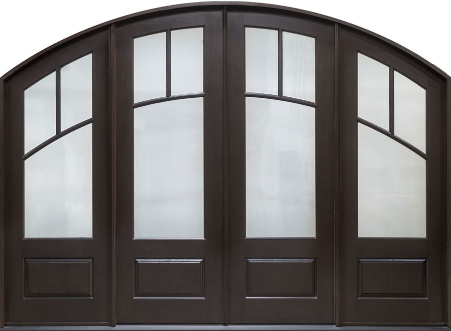 Classic Mahogany Wood Front Door - Double with 2 Sidelites - DB-511 DD 2SL CST