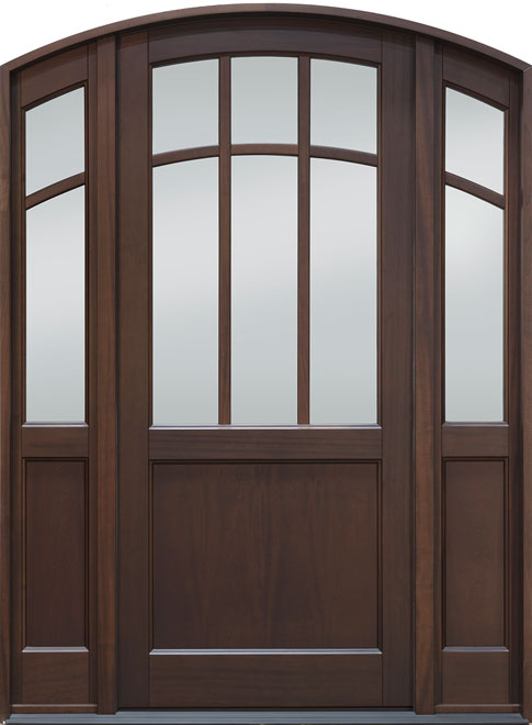 Classic Mahogany Wood Front Door - Single with 2 Sidelites - DB-511PW 2SL CST