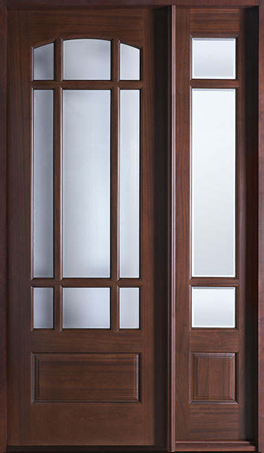 Classic Mahogany Wood Front Door - Single with 1 Sidelite - DB-511 1SL CST