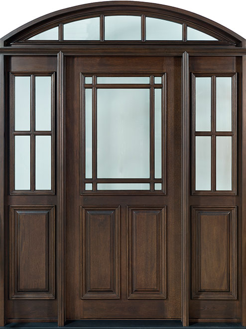 Classic Mahogany Wood Front Door - Single with 2 Sidelites w/ Transom - DB-511 2SL TR CST