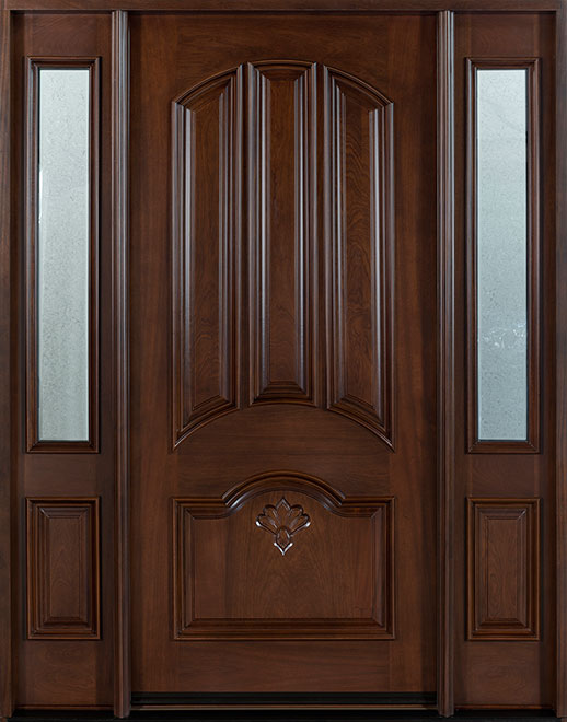 Classic Mahogany Wood Front Door - Single with 2 Sidelites - DB-516 2SL CST